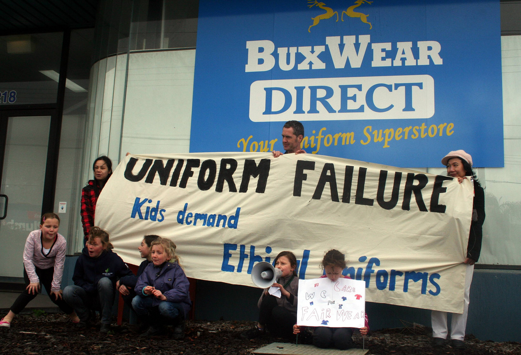 Kids protest sweatshop working conditions at BuxWear Direct